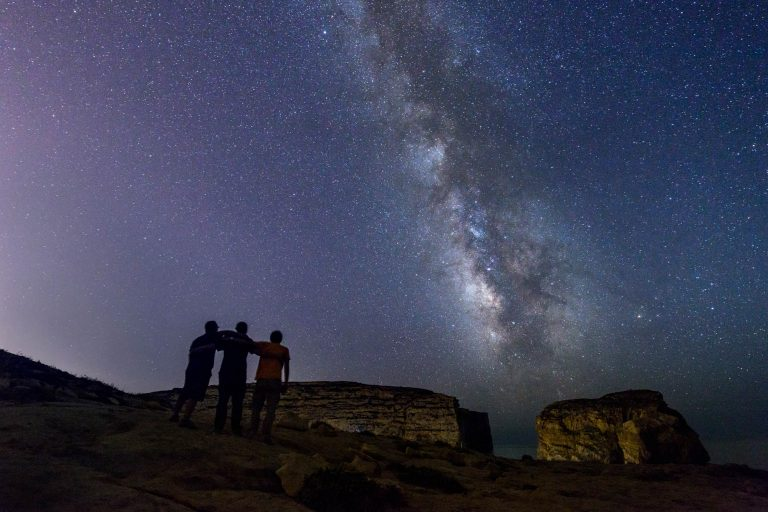 Milky Way and People at Dwejra