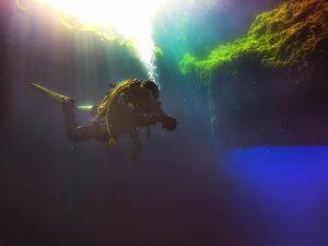 Diver at the Blue Hole, Dwejra