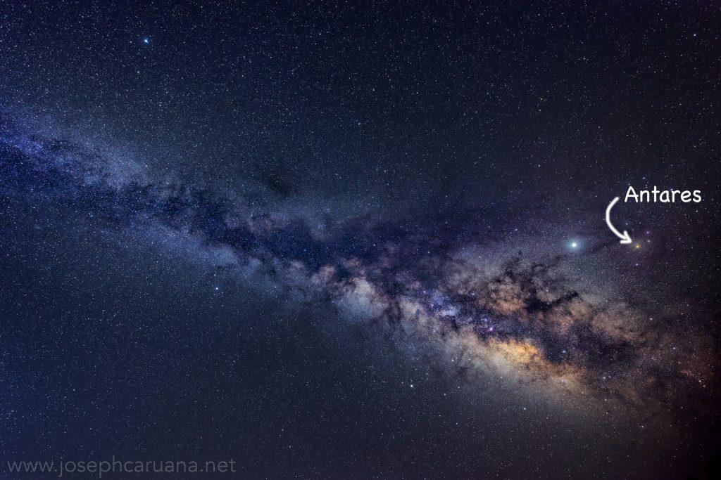 Antares and the Milky Way at Dwejra