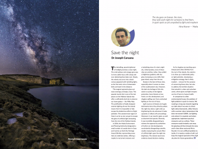 Article on Dark Sky Heritage Areas and Dwejra