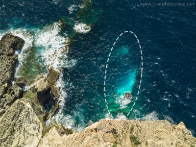 First aerial view of the remains of the Azure Window