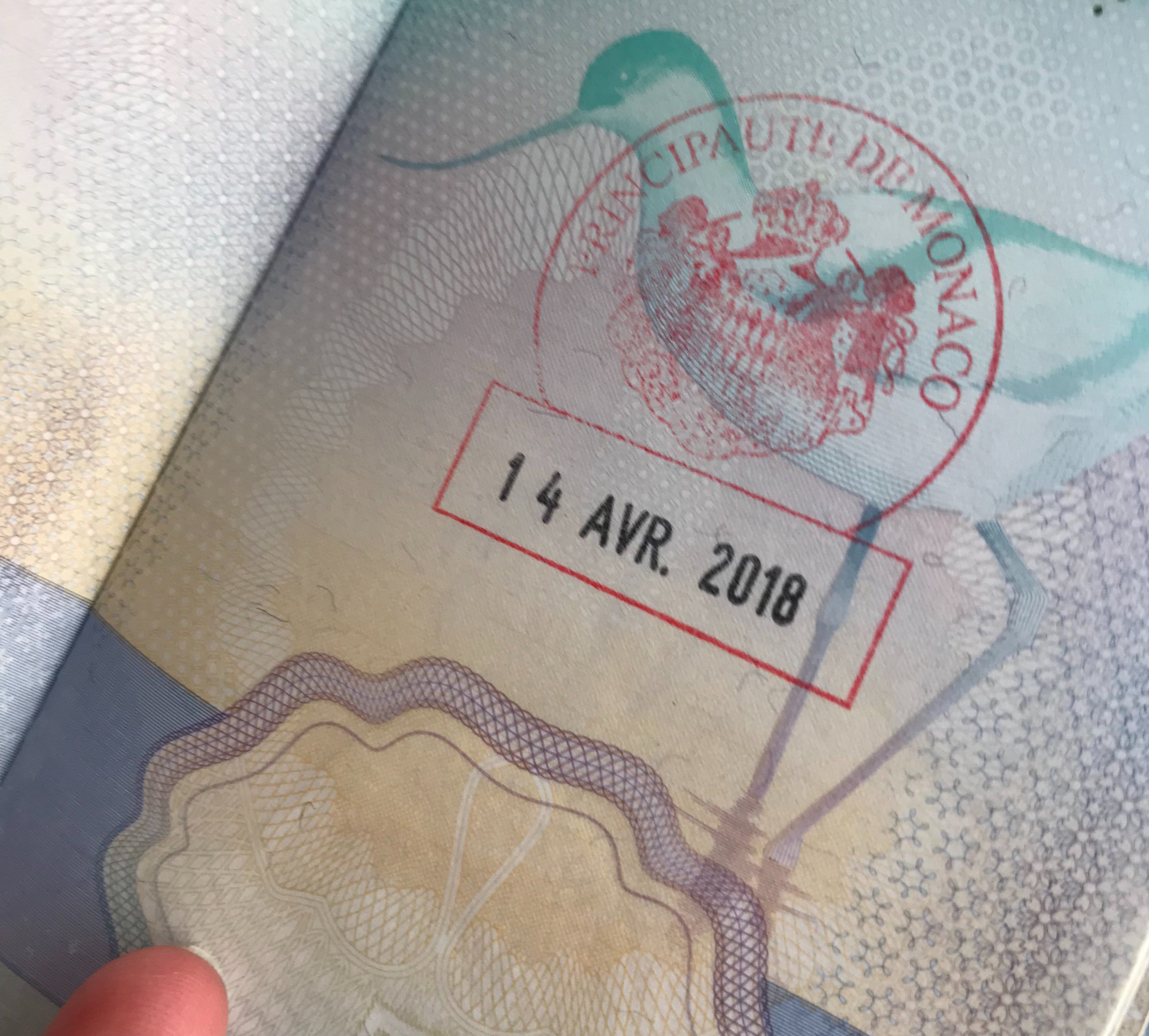 Monaco passport stamp